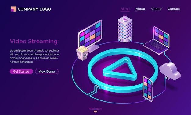 Video streaming internet film service landing page Free Vector