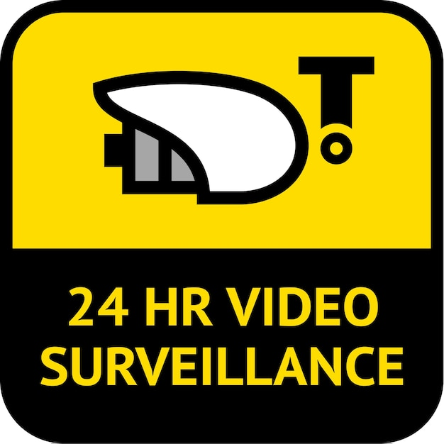 Video surveillance, label square shape Premium Vector
