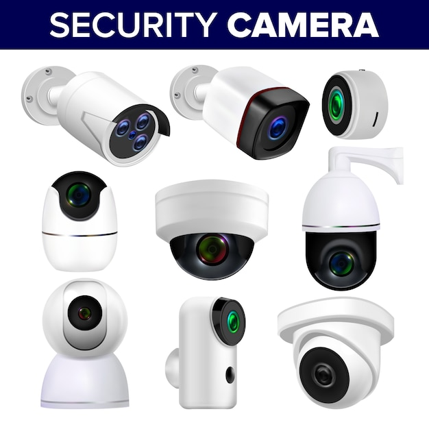 Video surveillance security cameras set Premium Vector