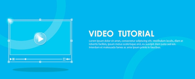 Video tutorial banner. hand pressing a computer. Free Vector