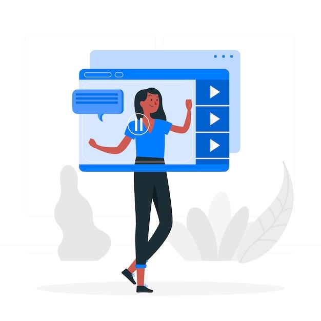 Видео учебник концепции иллюстрации Бесплатные векторы