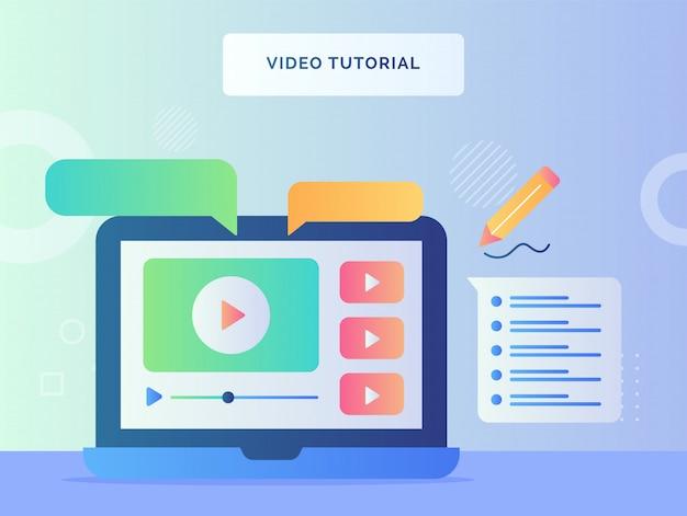 ノートパソコンの画面を表示するビデオチュートリアルのコンセプトで、ビデオの吹き出しをフラットスタイルで再生します。 Premiumベクター