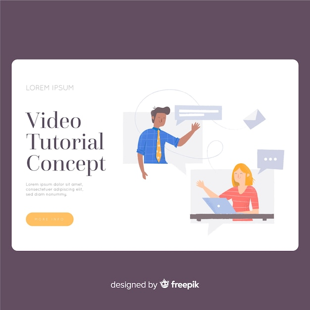 Video tutorial landing page template Free Vector