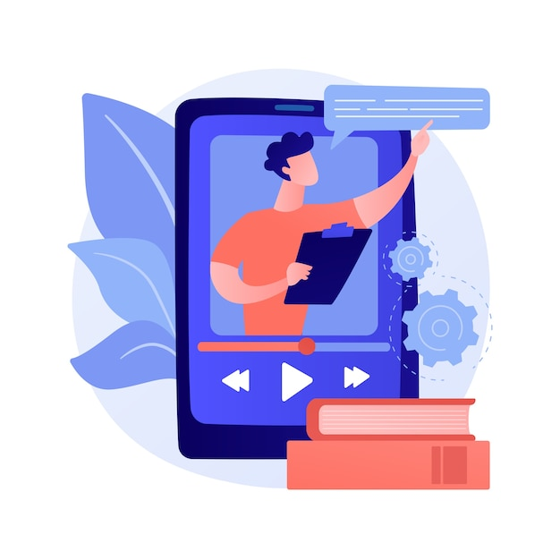 Video tutorial watching. online lecture, internet course, digital lesson. tutor cartoon character. video call, seminar, remote education Free Vector