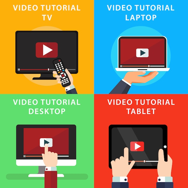 Video tutorials on different devides Free Vector