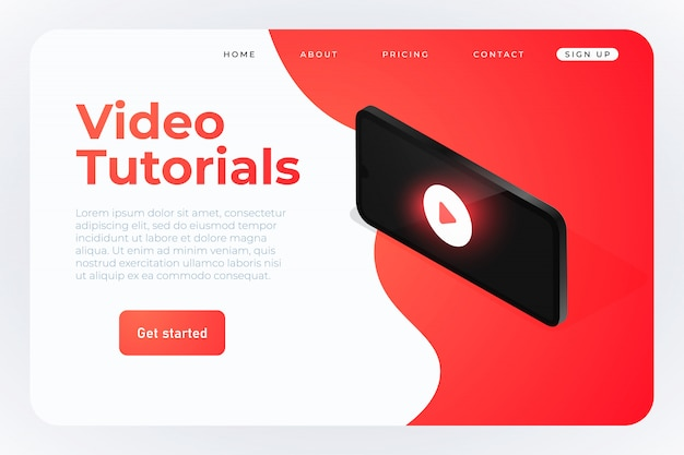 Video tutorials isometric web template Premium Vector