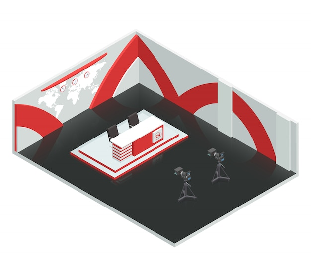 Video tv broadcast studio isometric interior composition with live news room environment newscasters Free Vector