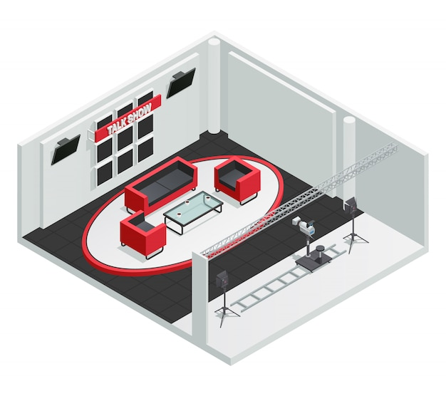 Video tv talk show studio isometric interior composition with furniture camera Free Vector