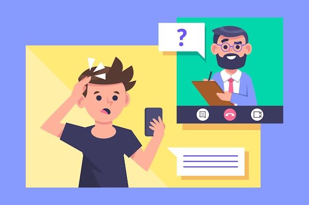 Видеозвонок с концепцией терапевта Premium векторы