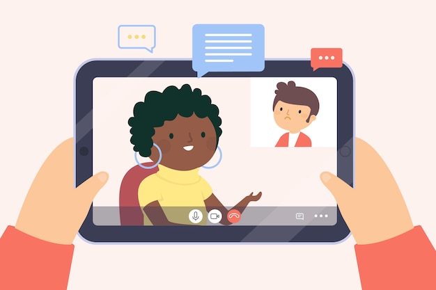 Videocalling with therapist concept Free Vector
