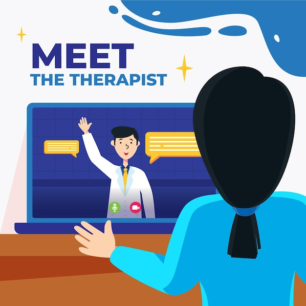 Videocalling with therapist Free Vector