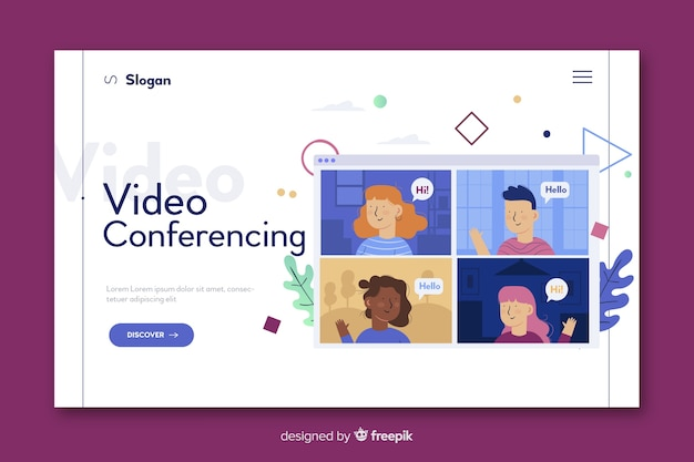 Videoconferencing concept for landing page Free Vector