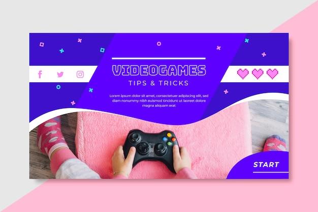 Шаблон блога видеоигры Бесплатные векторы