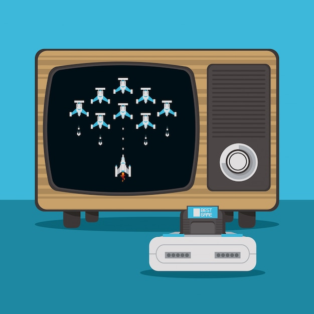 Videogame console and tv Premium Vector