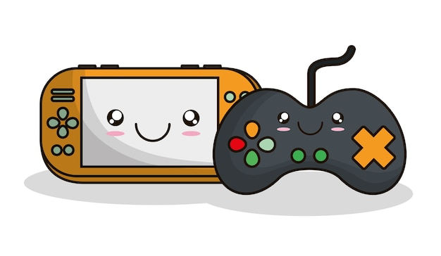 Premium Vector Videogame Control Kawaii Cartoon Smiling Technology Icon