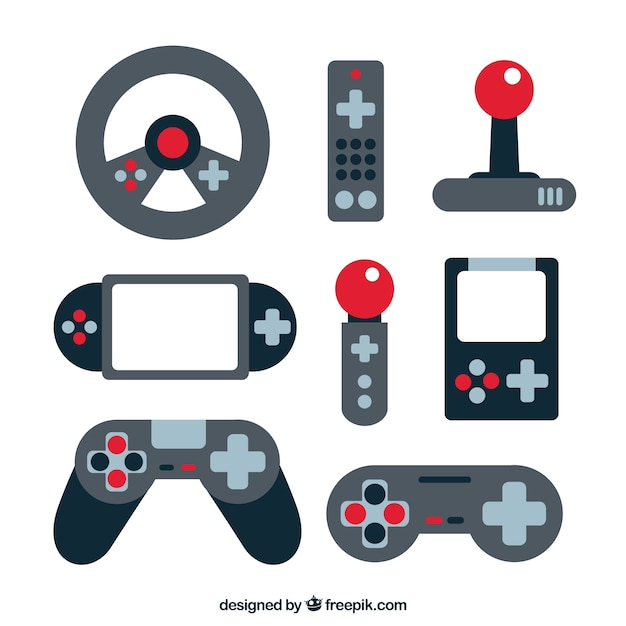 Videogame Elements Set In Flat Design Vector