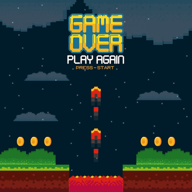 Videogame game over concept Premium Vector