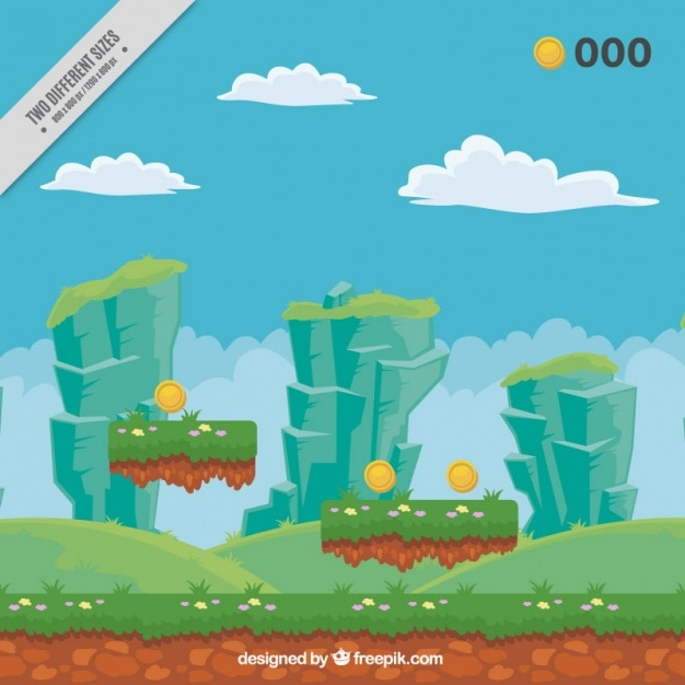 Videogame landscape background Free Vector
