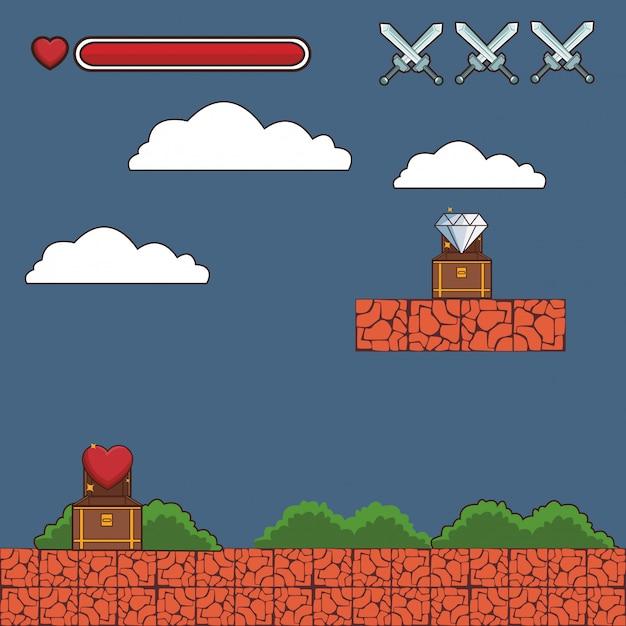 Videogame scenery cartoon Premium Vector