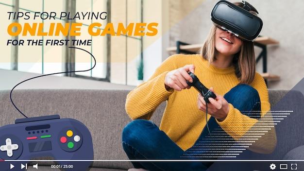 ビデオゲームyoutubeサムネイル 無料ベクター