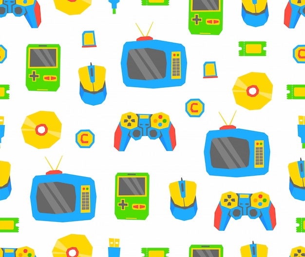 Videogames pattern Premium Vector