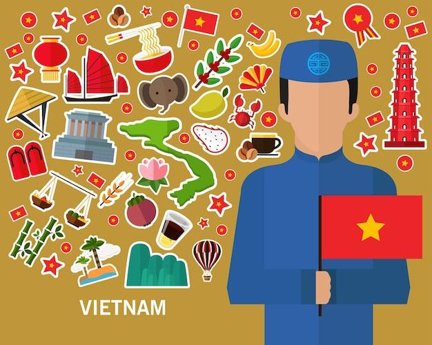 Vietnam concept background .flat icons Premium Vector