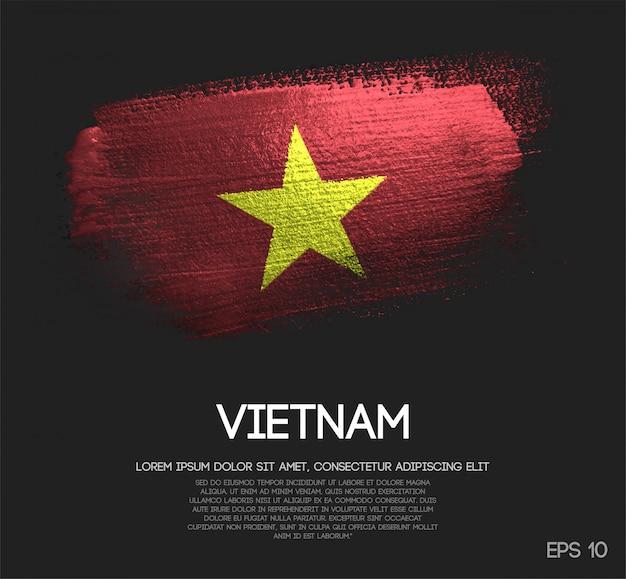 Vietnam flag made of glitter sparkle brush paint Premium Vector