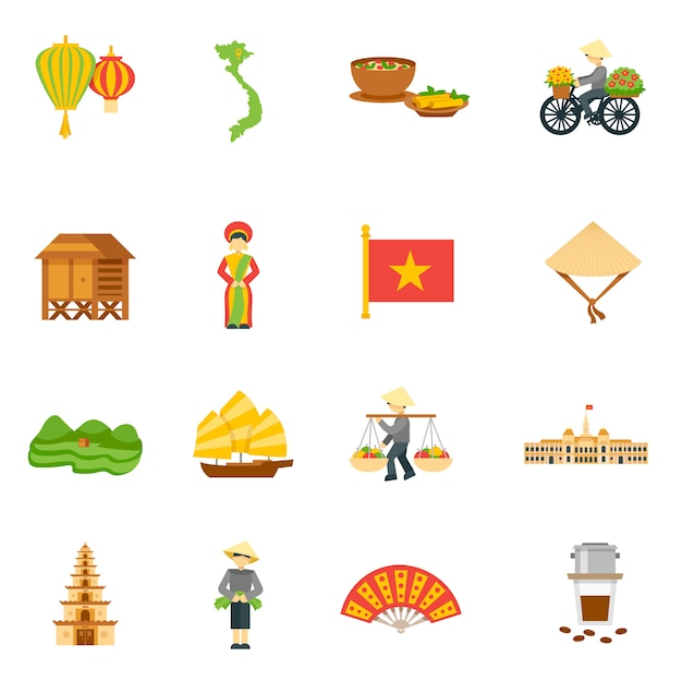 Free Vector Vietnam Icons Set