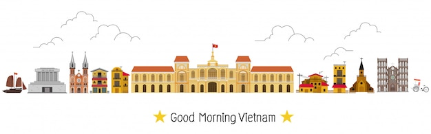 Vietnam and landmarks and travel place, temple Premium Vector