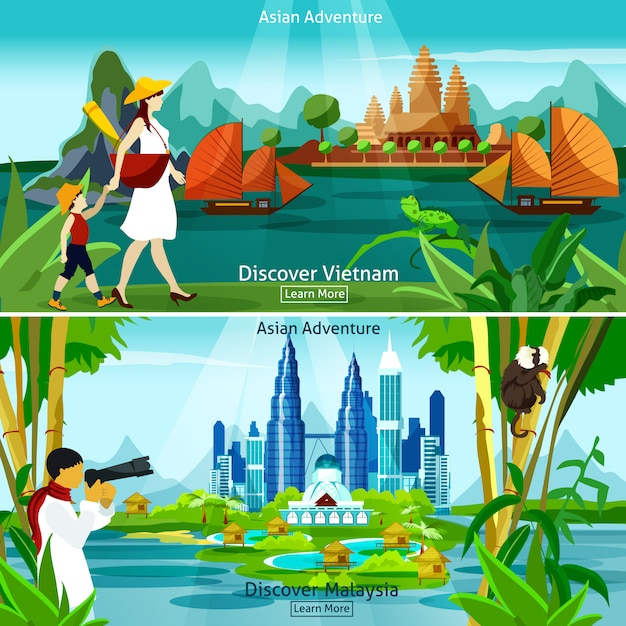 Vietnam and malaysia travel compositions Free Vector