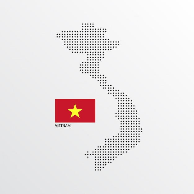 Vietnam map design with flag and light background vector Free Vector