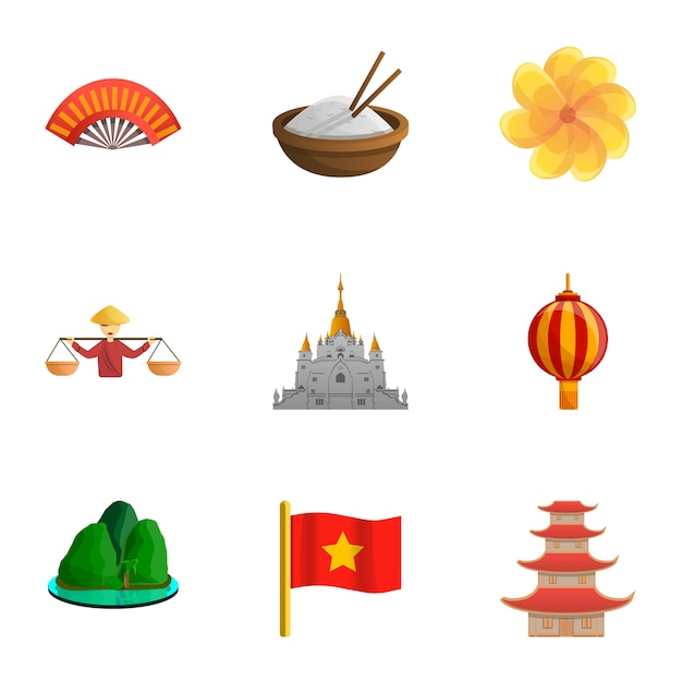 Vietnam set, cartoon style Premium Vector