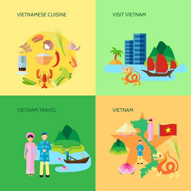 Vietnamese national cuisine culture and sightseeing for travelers Free Vector