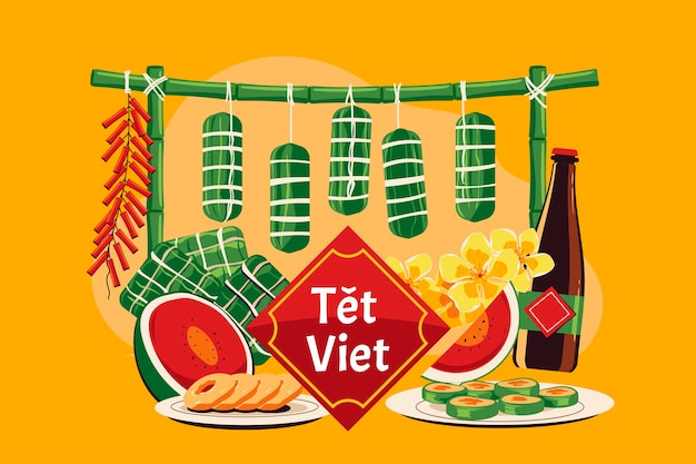 Vietnamese new year concept. tet viet mean lunar new year in vietnam Premium Vector