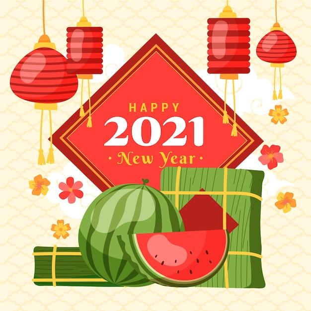 Disegnato a mano di nuovo anno vietnamita Vettore gratuito