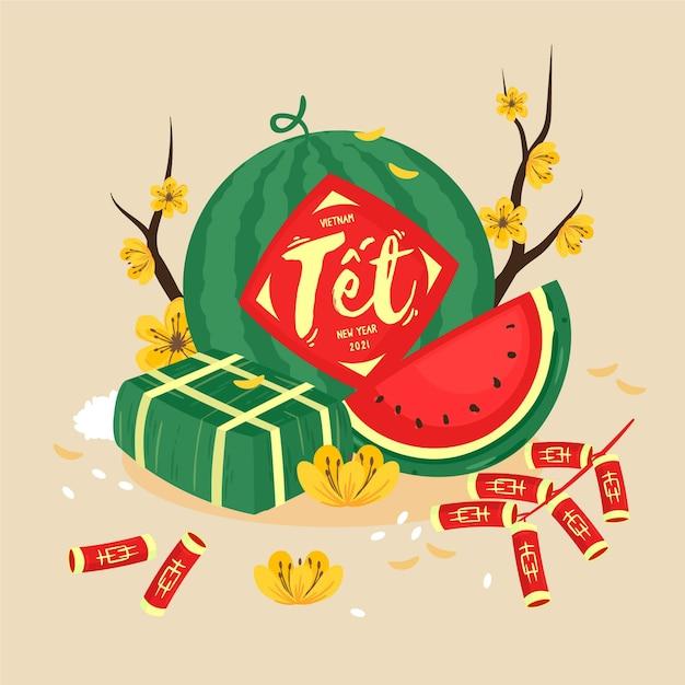Vietnamese new year watermelon and firecrackers Premium Vector
