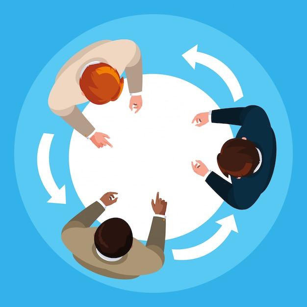View aerial of businessmen elegant in meeting Premium Vector