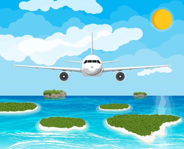空に飛行機を表示します。熱帯の島々 Premiumベクター