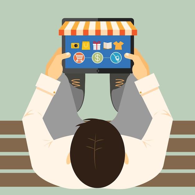 쇼핑 카트 지불 및 배달 옵션 벡터 일러스트와 함께 상점 전면 및 상품과 태블릿 컴퓨터에서 온라인 쇼핑을 하 고 벤치에 남자의 위에서 볼 프리미엄 벡터