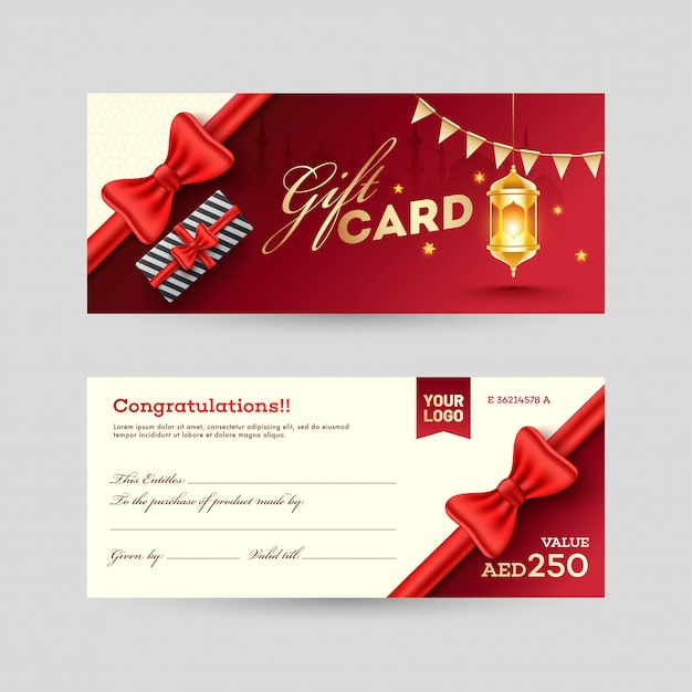 View of front and back gift card design with gift box and illumi Premium Vector
