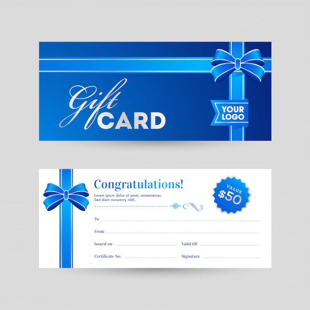 View of front and back horizontal gift card with blue ribbon and Premium Vector