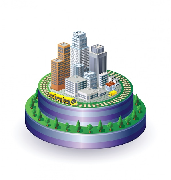 View of isometric city Premium Vector