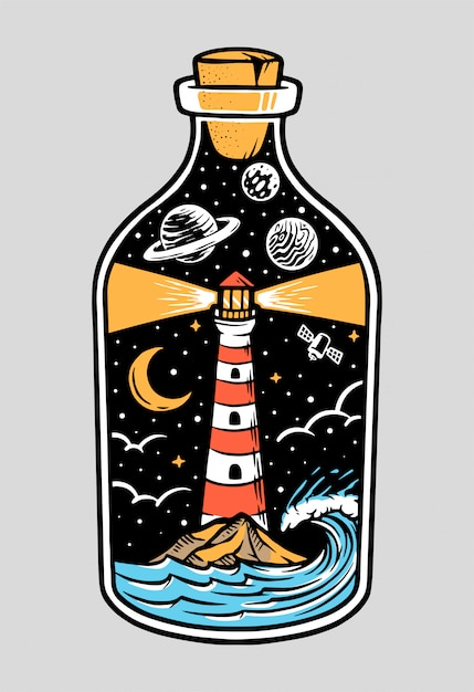 View of the lighthouse at night in a bottle illustration Premium Vector