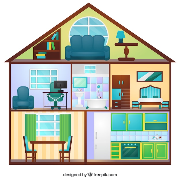 view of flat house with six rooms vector | free download