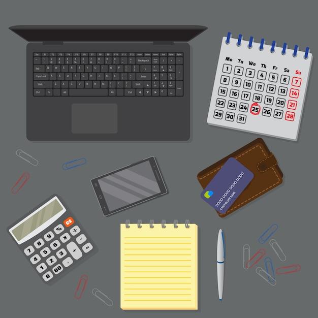 노트북, 디지털 장치, 금융 및 비즈니스 개체를 포함한 사무실 어두운 책상의 전망. 프리미엄 벡터