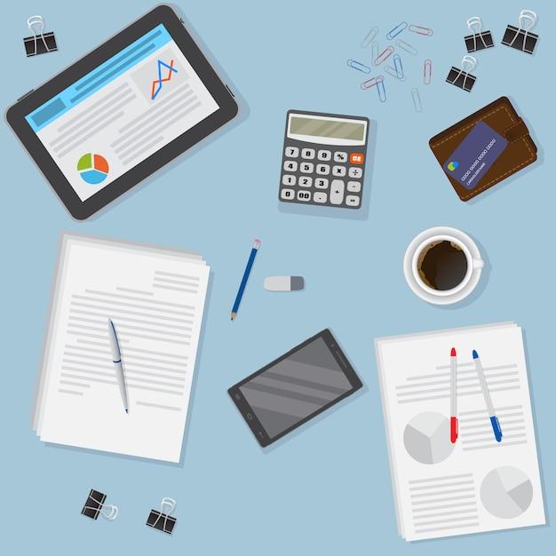 태블릿, 스마트 폰, 금융 및 비즈니스 개체를 포함한 사무실 책상의 전망. 프리미엄 벡터