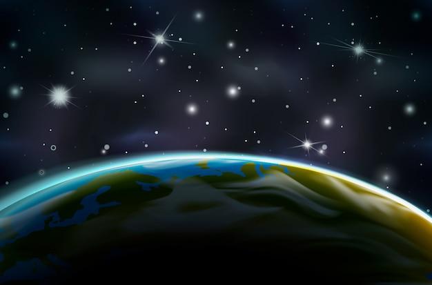 Вид на планету земля с орбиты на ночной стороне на космическом фоне с яркими звездами и созвездиями Premium векторы