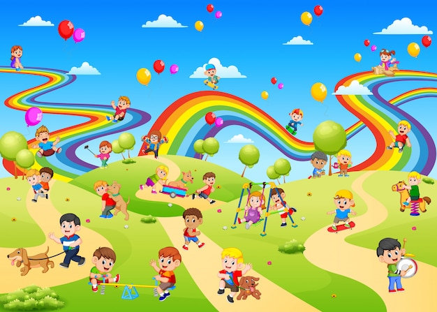 The view of playground full of the children palying on it Premium Vector