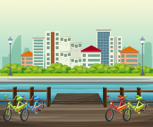 A view of town building from the park Premium Vector