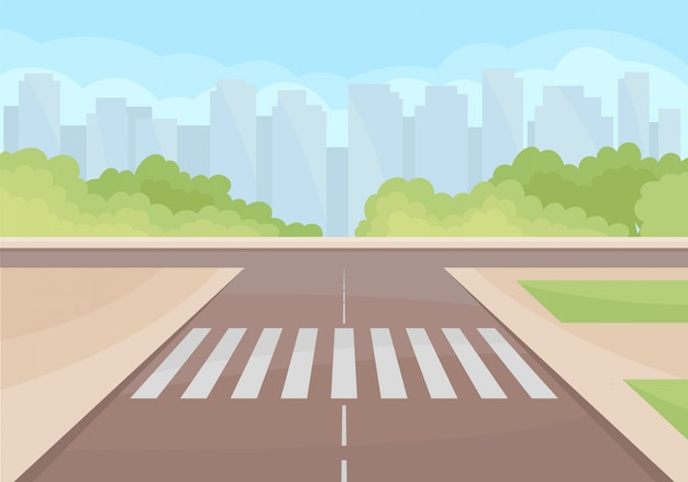 View on traffic intersection with crosswalk Premium Vector